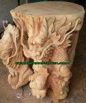 Meja batu alam motif naga