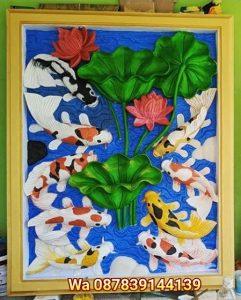 Relief ikan koi,ukiran ikan koi,koi, relief lotus,ukiran dicat, ornamen batu alam,ukiran untuk hiasan dinding,patung,lampion,pilar,roster,batu tempel,batu tempel