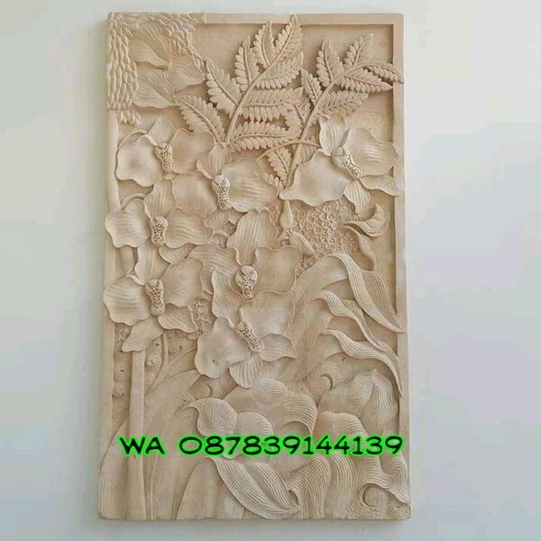 Jual relief batu alam bunga dan tumbuhan